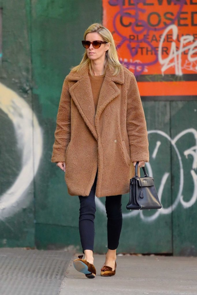 Nicky Hilton in a Tan Fur Coat