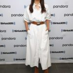 Nina Dobrev in a White Dress Visits SiriusXM Studios in New York