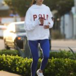 Nina Dobrev in a White Hoody Was Seen Enjoying a Jog in Los Angeles 03/26/2020