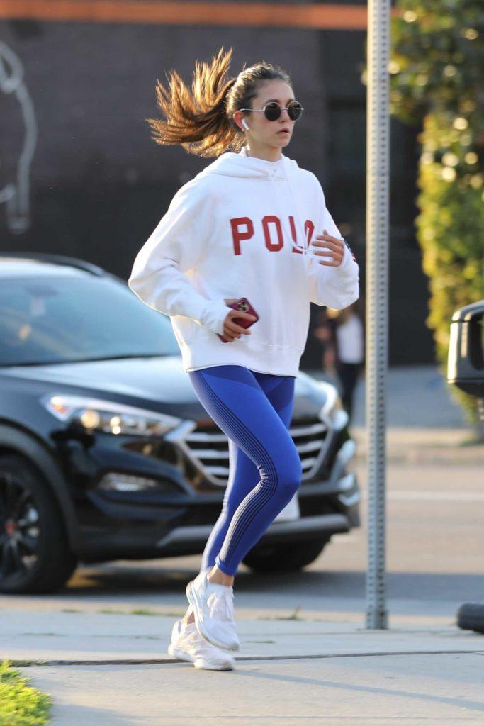 Nina Dobrev in a White Hoody