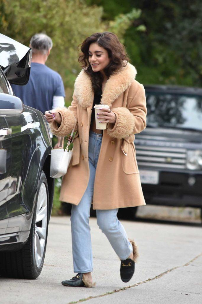 Vanessa Hudgens in a Beige Coat