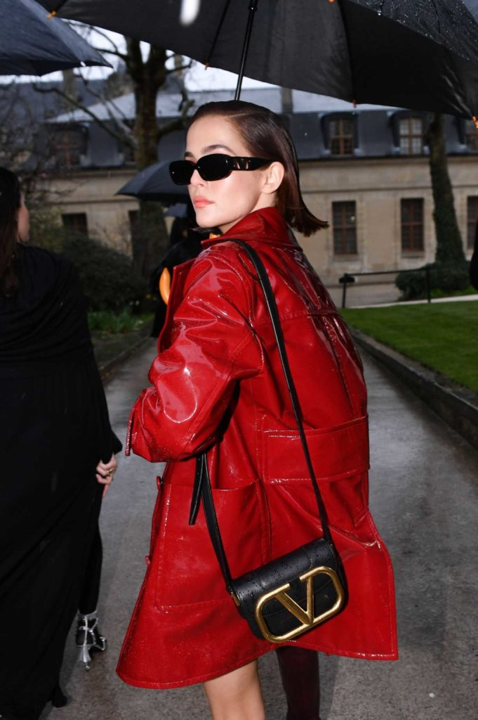 Zoey Deutch in a Red Trench Coat