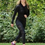Ali Larter in a Black Cap Does a Morning Walk in Pacific Palisades