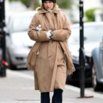 Alice Eve in a Beige Coat Was Seen Out in London