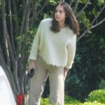 Ana de Armas in a Beige Pants Receives a Delivery at Her Home in Brentwood