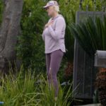 Brigitte Nielsen in a Floral Cap Was Seen Outside of Her New House in Encino