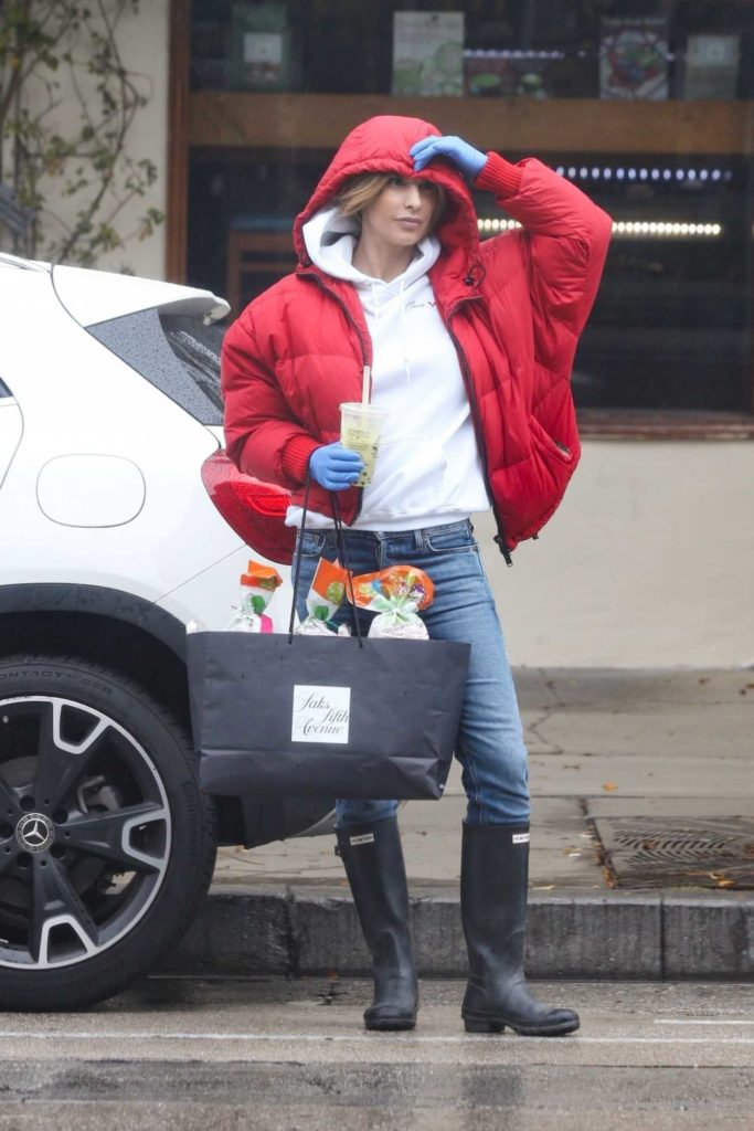 Elisabetta Canalis in a Red Jacket