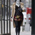 Famke Janssen in a Beige Trench Coat Was Seen Out in New York