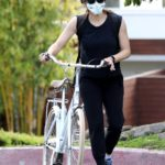 Jennifer Garner in a Surgical Face Mask Does a Bike Ride with Her Son Samual in Brentwood