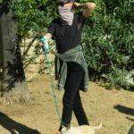 Juliette Lewis in a Blue Cap Walks Her Dogs in Los Angeles