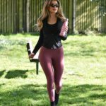 Maria Wild in a Purple Leggings Does Her Daily Excercise at a Park in London