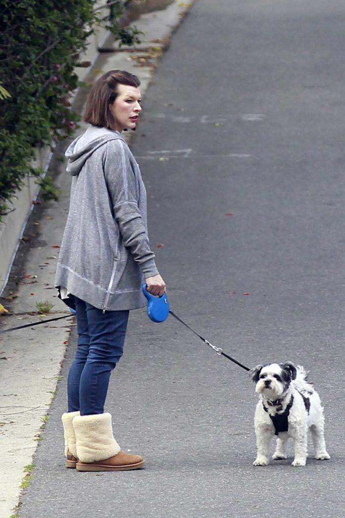 Milla Jovovich in a Gray Hoody