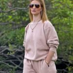 Rosie Huntington-Whiteley in a Beige Sweatsuit Was Seen Out in Beverly Hills