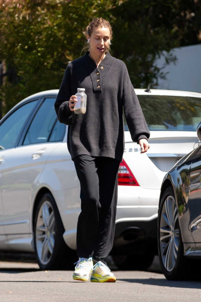Whitney Port in a Black Track Pants