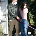 Ana de Armas in a Pink Tee Walks Her Dog Out with Ben Affleck in Los Angeles