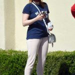 Ariel Winter in a Blue Tee Heads to the Bank in North Hollywood