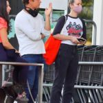Brie Larson in a Purple Face Mask Goes Shopping in Los Angeles