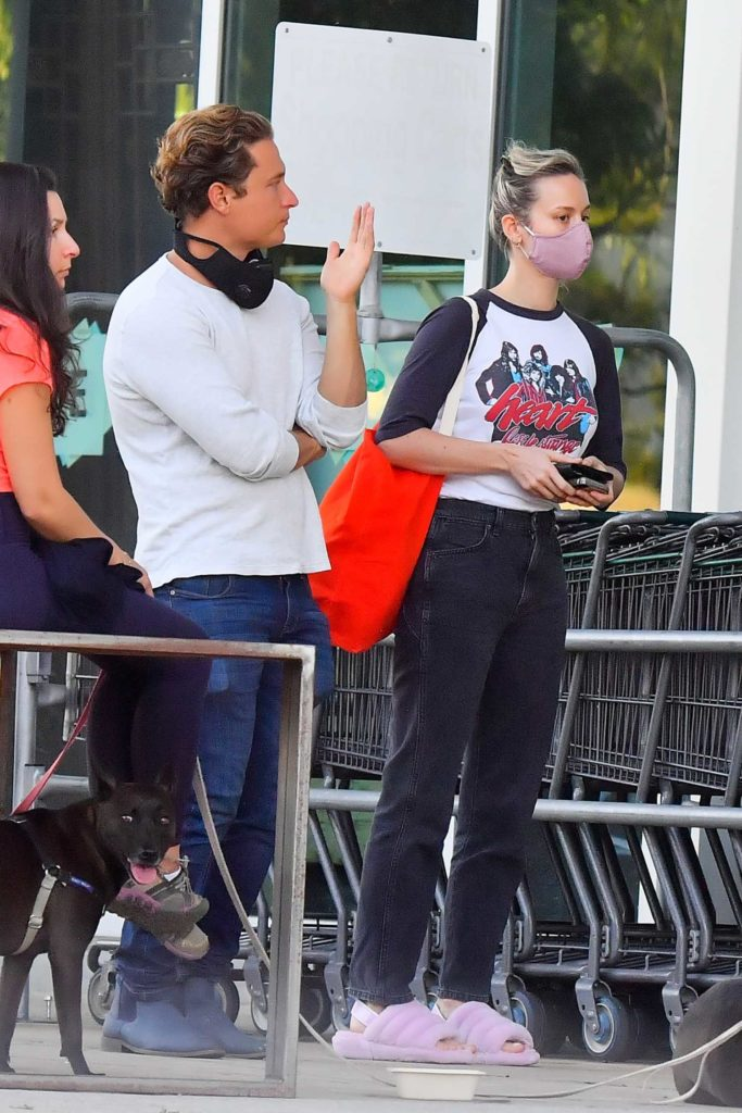 Brie Larson in a Purple Face Mask