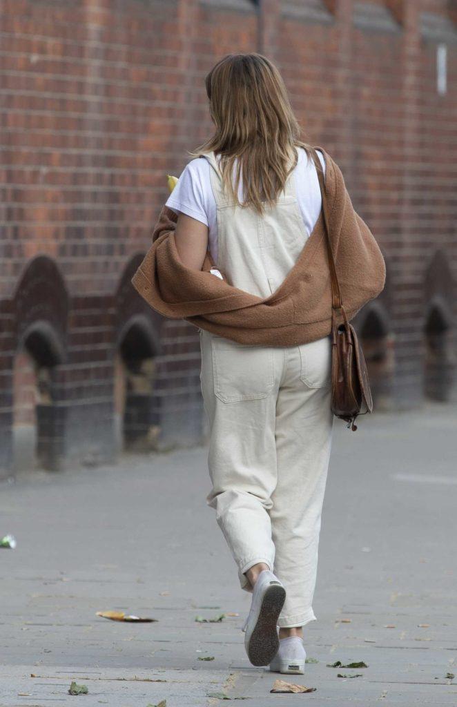 Caggie Dunlop in a Beige Jumpsuit