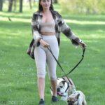 Chloe Ross in a Beige Top Walks Her Dogs in Chigwell