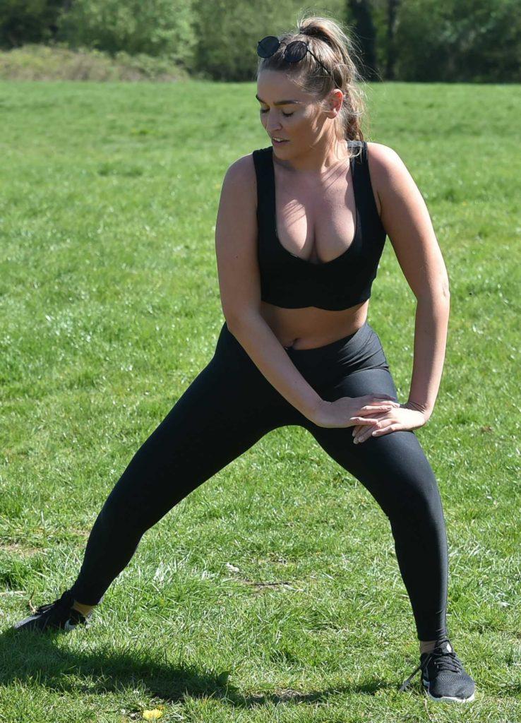 Chloe Ross in a Black Sports Bra