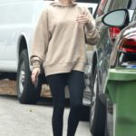 Emma Roberts in a Beige Hoody Visits a Friend in Los Angeles