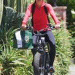 Hayley Erbert in a Black Leggings Does a Bike Ride Out with Derek Hough in Studio City