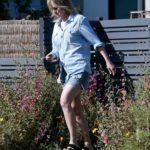 Helen Hunt in a Blue Denim Shirt Visits Her ex Matthew Caranahan in Santa Monica