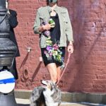 Helena Christensen in a Protective Mask Walks Her Dog in New York