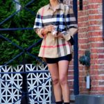 Irina Shayk in a Beige Checked Shirt Was Seen Out in New York