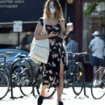 Lily James in a Protective Mask Picks up Some Groceries in Primrose Hill