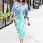 Lucy Horobin in a Green Floral Dress Leaves Global Radio in London