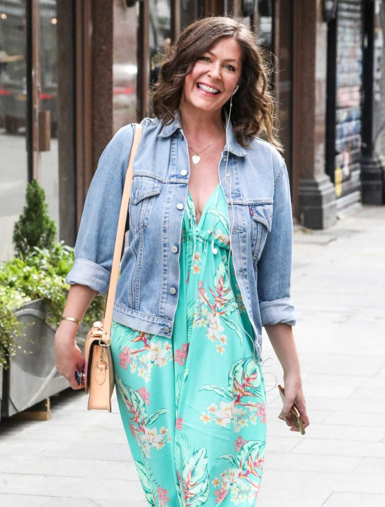 Lucy Horobin in a Green Floral Dress