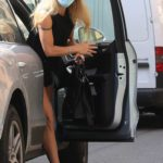 Michelle Hunziker in a Protective Mask Goes Shopping in Bergamo
