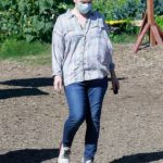 Milla Jovovich in a Protective Mask Shops at a Plant Nursery in Malibu