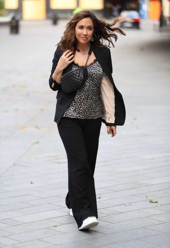 Myleene Klass in a Black Trouser Suit