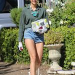 Nina Dobrev in a Green Shirt Was Seen Out in Santa Monica
