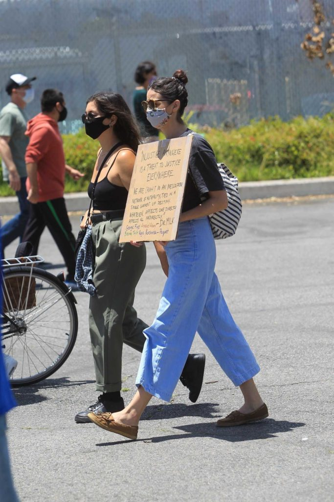 Odette Annable Protective Mask Attends The Black Lives Matter Protest Los Angeles