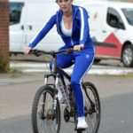 Rebecca Gormley in a Blue Tracksuit Does a Bike Ride in Newcastle