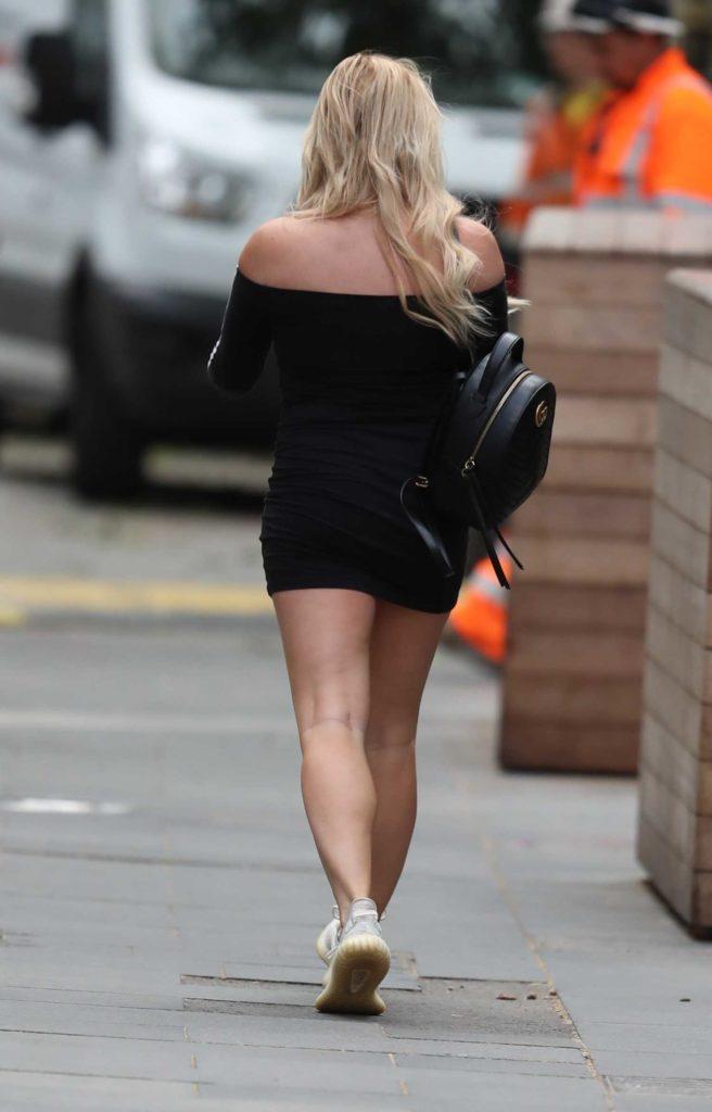 Sian Welby in a Black Adidas Mini Dress