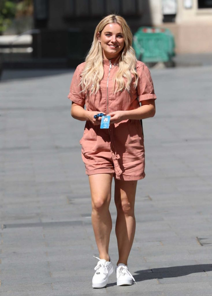 Sian Welby in a Pink Playsuit