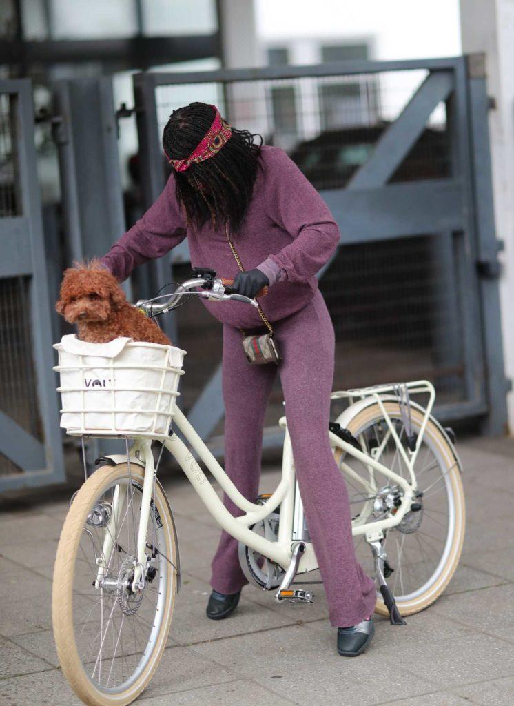Sinitta in a Purple Jogging Suit