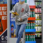 Sydney Brooke in a Protective Mask Stops By a Gas Station in Malibu