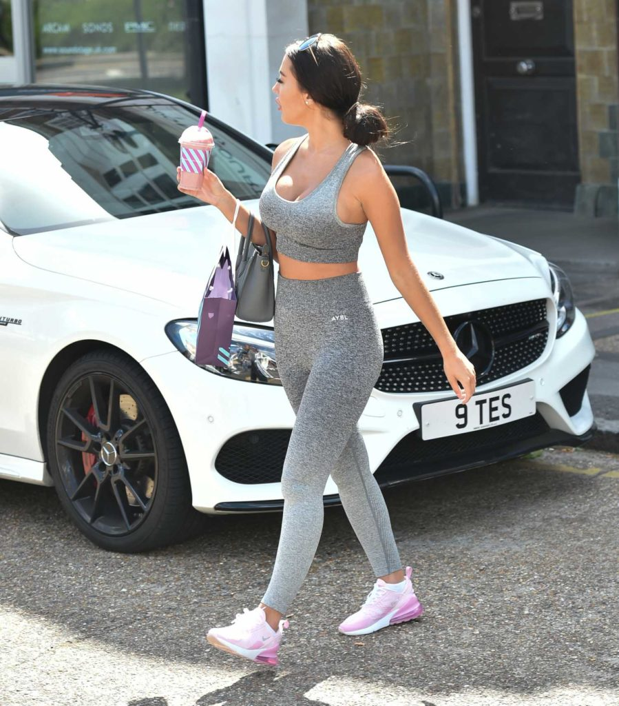 Yazmin Oukhellou in a Gray Workout Clothes