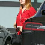 Ariel Winter in a Red Pyjamas Arrives at Her Home in Los Angeles