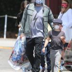 Ben Affleck in a Protective Mask Goes Shopping for Toys Out with His Son in Brentwood