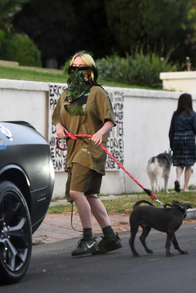 Billie Eilish in a Green Bandana as a Face Mask