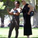 Brigitte Nielsen in a Black Dress Was Seen Out at a Park with Her Husband Mattia Dessi in Los Angeles