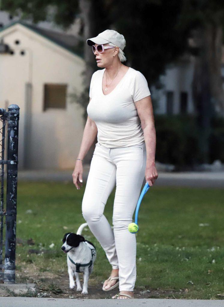 Brigitte Nielsen in a Gray Cap