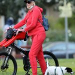 Brigitte Nielsen in a Red Sweatsuit Does a Bike Ride in Los Angeles